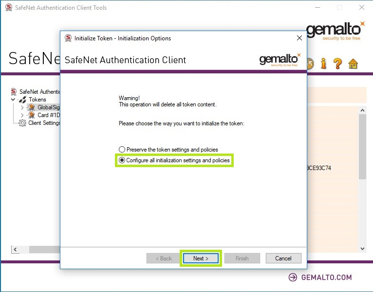 GMO GlobalSign | Initialize Safenet eToken 5110 cc for Qu
